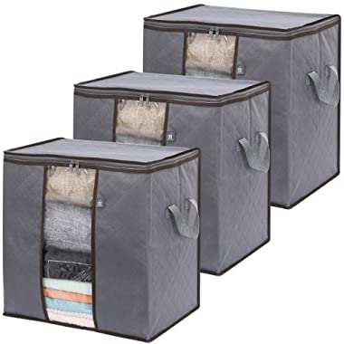 VENO 3 Pack Tall Extra Large Clothes Storage Bag with Reinforced Handle Thick Fabric for Comforters, Blankets, Bedding, Foldable with Sturdy Zipper, Clear Window, 24 Gal, Grey, Recycled Material