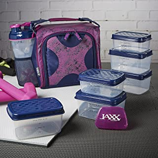 Fit & Fresh Original Jaxx FitPak Insulated Meal Prep Bag with Portion Control Containers, Ice Pack and 28-ounce JAXX Shaker Bottle, Navy Purple Crosshatch Clutter