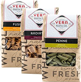Vera Pasta Tre Spicy Garlic Fusilli, Tomato Basil Radiatori, Fresh Spinach Penne - Authentic, Gourmet Italian Pasta - Artisan, Fresh Pasta Made in the USA - All Natural - 3x 1 Pound