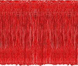 Adorox Metallic Silver Gold Rainbow Foil Fringe Curtains Party Wedding Event Decoration (Red)