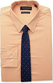 Men's Modern Fitted Mini Gingham Stretch Shirt with Solid Tie