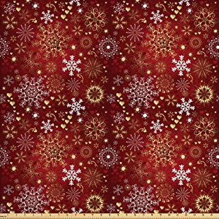 Ambesonne Winter Fabric by The Yard, Old Fashioned Christmas Hearts and Swirls Vintage Composition, Decorative Fabric for Upholstery and Home Accents, 2 Yards, Vermilion Yellow