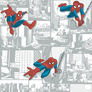York Wallcoverings Disney Kids III Marvel Ultimate Spiderman Comic Removable Wallpaper Whites