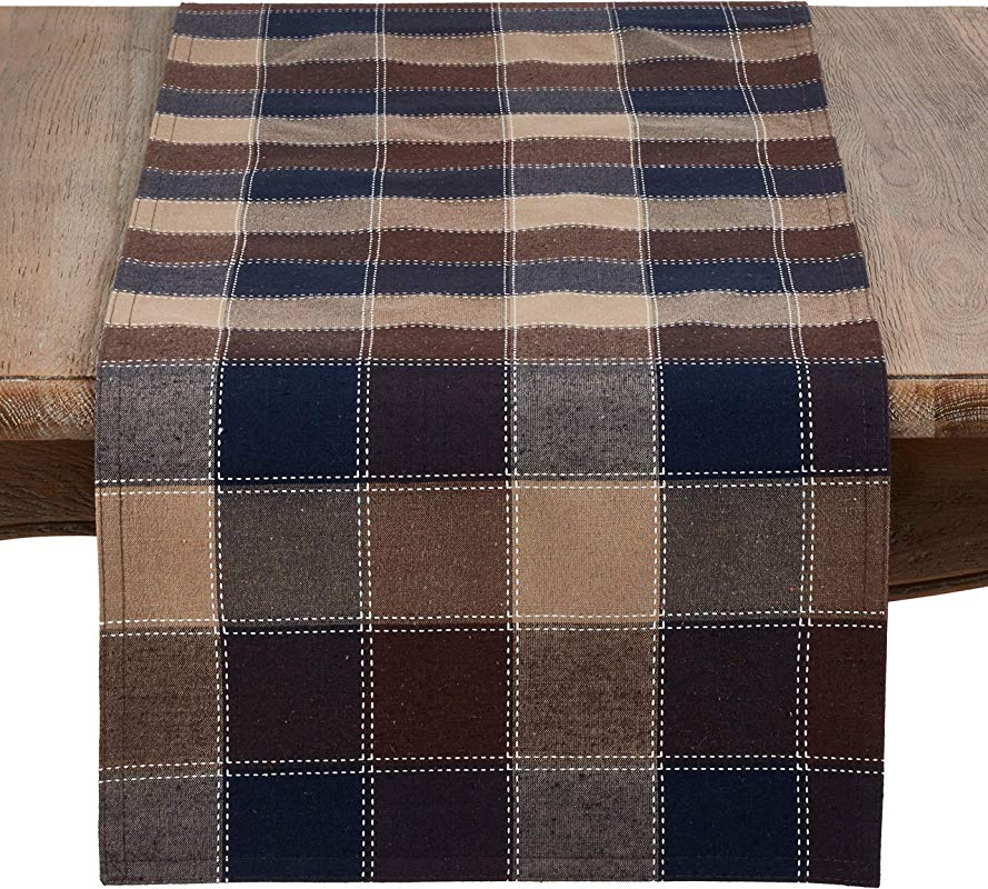 SARO LIFESTYLE 8571 M1690B Harvest Collection Cotton And Poly Blend Runner With Stitched Plaid Design 16 X 90 Multi