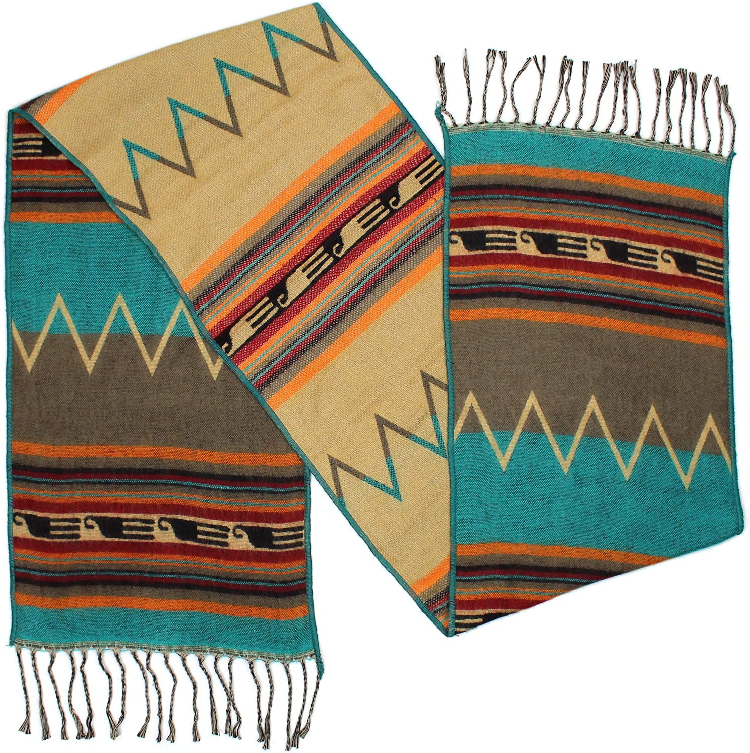 """Rustic Covenant """" Western Scarves Collection """" Southwest Fashion Scarf for Women, Zuni Zig Zag Turquoise Orange, 12 Inches by 72 Inches"""