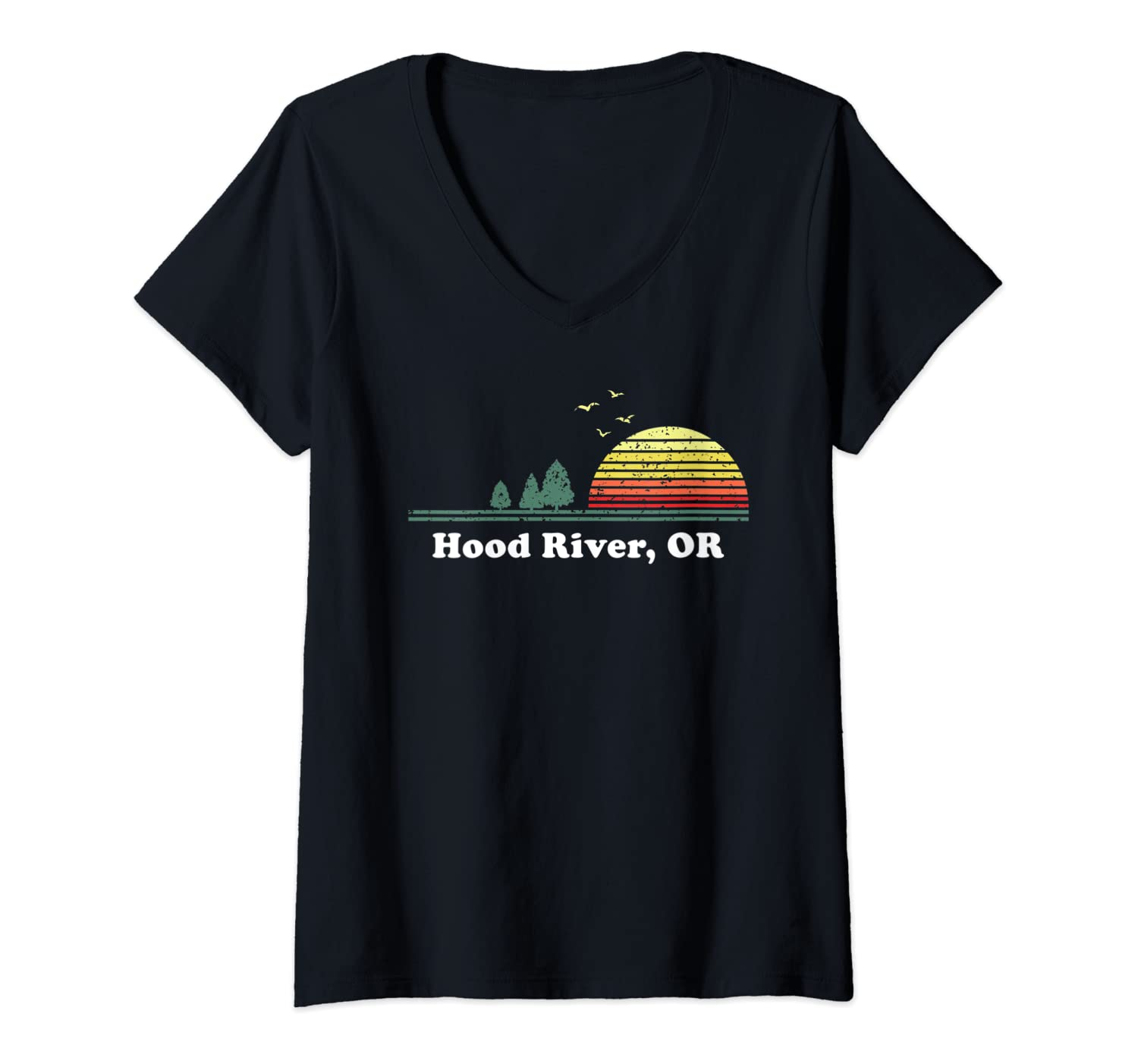 Womens Vintage Hood River, Oregon Home Souvenir Print V-Neck T-Shirt