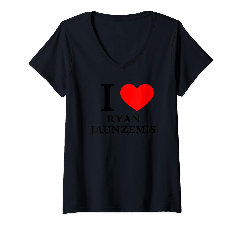 """Womens RYAN JAUNZEMIS """"I LOVE RYAN JAUNZEMIS"""" V-Neck T-Shirt"""