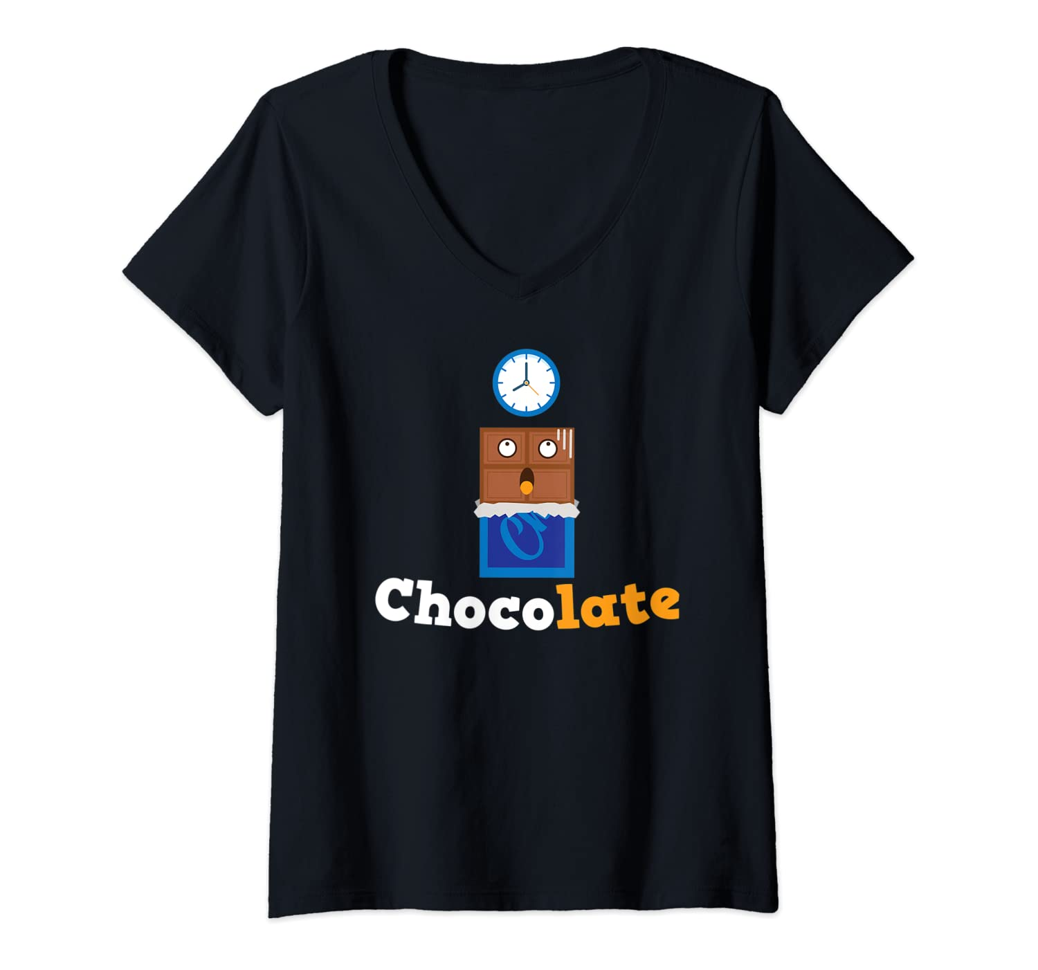 Womens Chocolate late funny chocolate bar running late for work V-Neck T-Shirt
