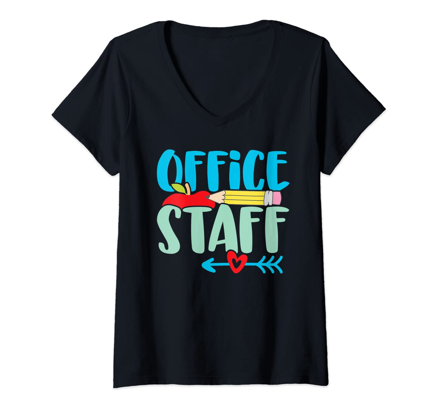 Womens Cute School Front Office Staff Secretary Admin Appreciation V-Neck T-Shirt