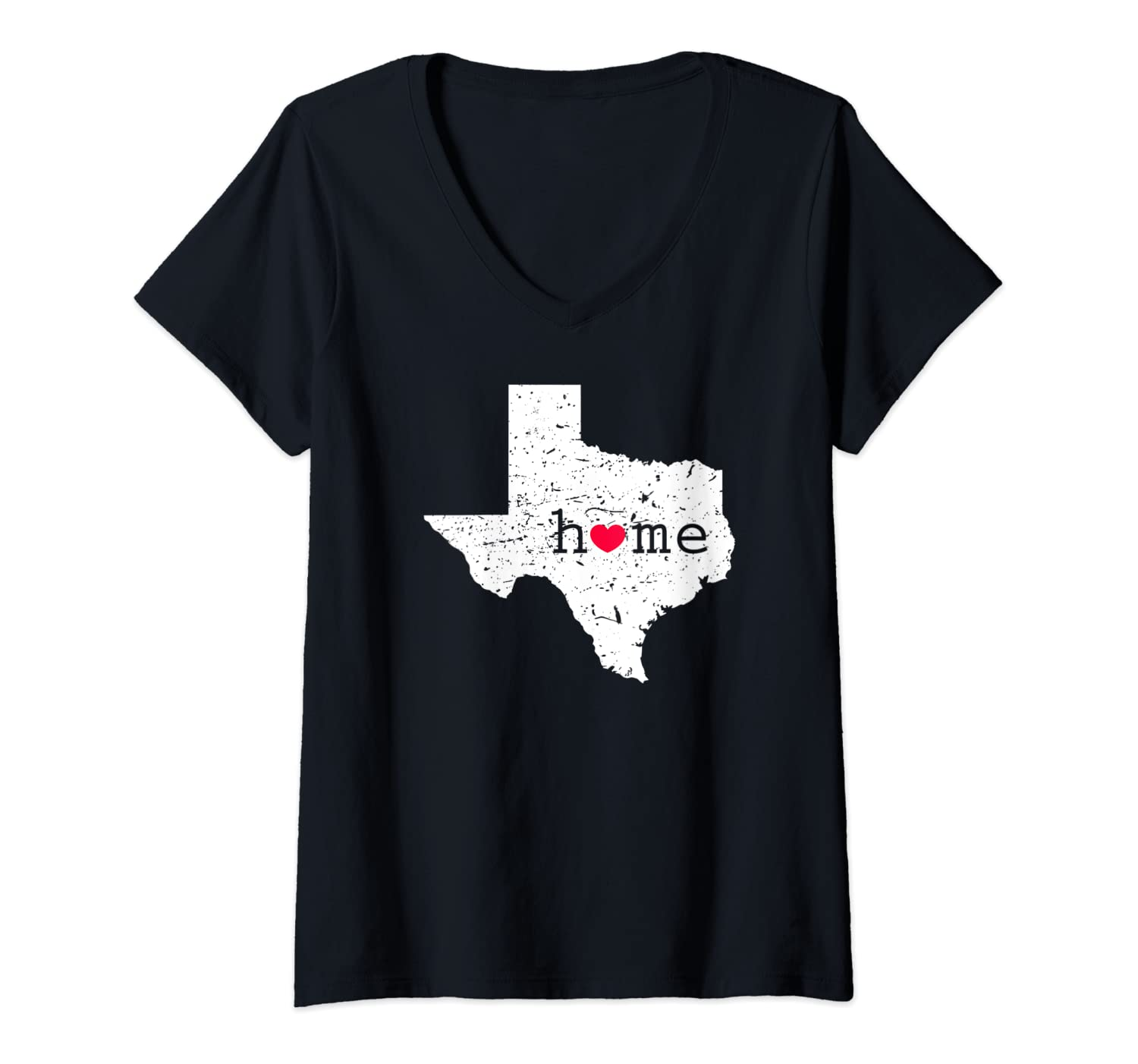 Womens Texas Home T Shirt Distressed TX State Map with Heart Gift V-Neck T-Shirt