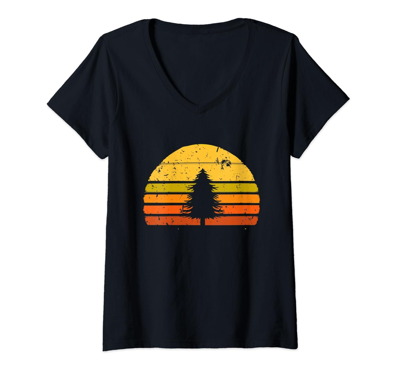 Womens Retro Sunset Pine Tree Lovers Nature Camping V-Neck T-Shirt