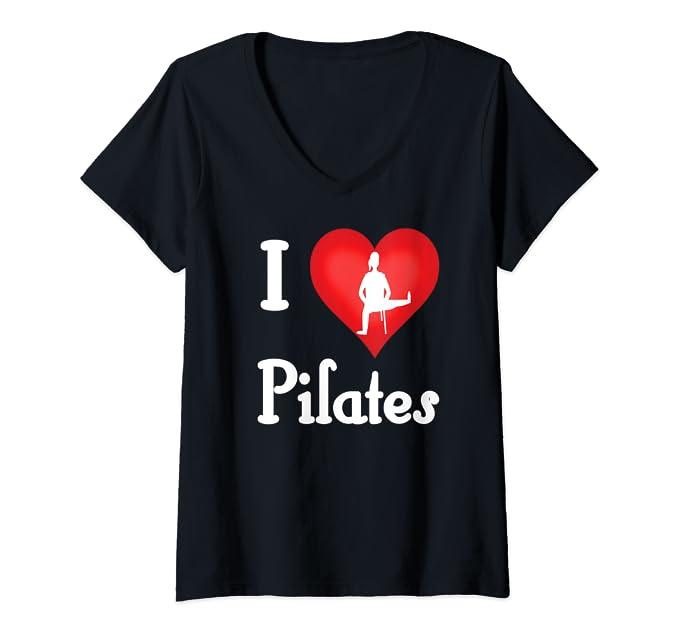 I Love Pilates V Neck T-Shirt