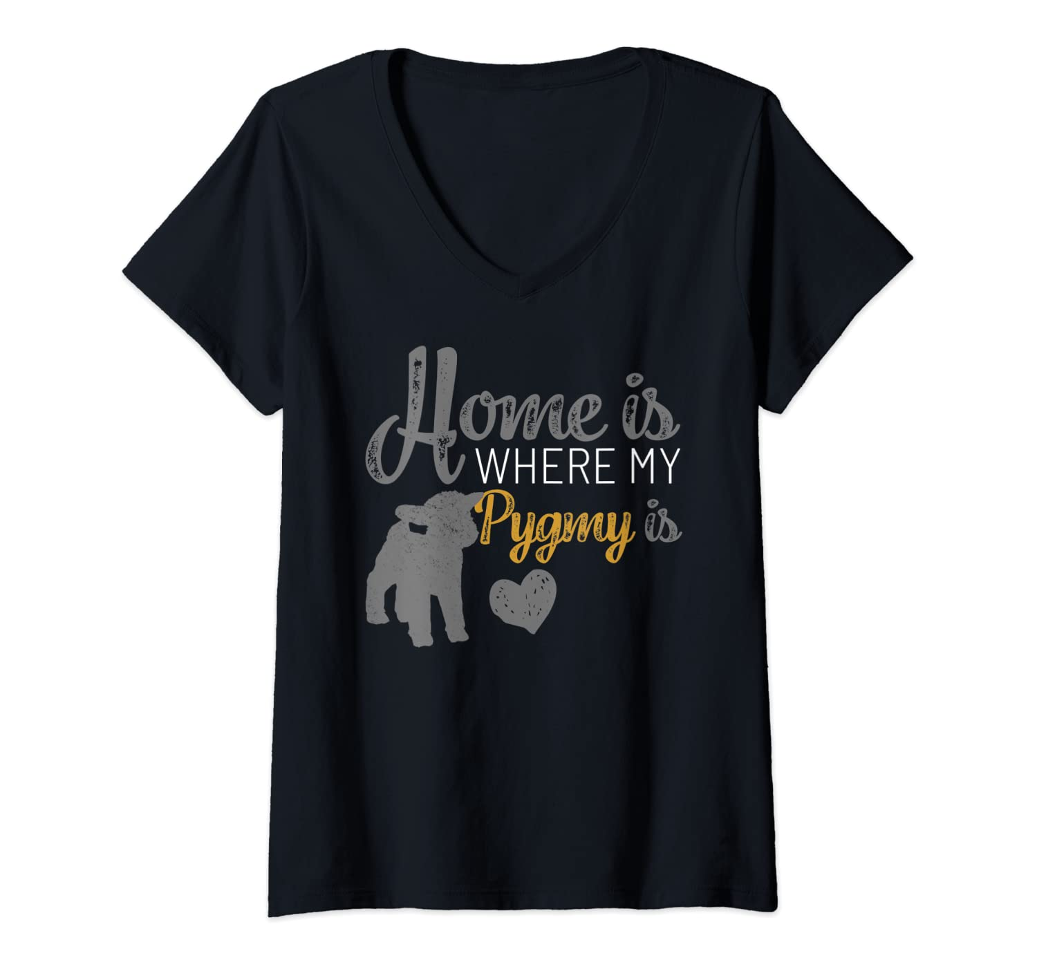 Womens Home Is Where My Pygmy Goat is Tshirt Pygmy Goat Lovers Gift V-Neck T-Shirt