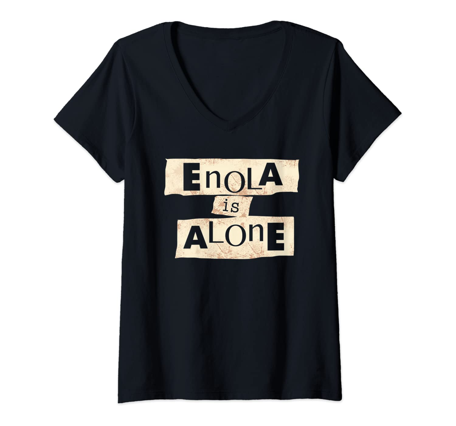 Womens Funny ENOLA is ALONE at HOME Vocabulary HUMOR Vintage ART V-Neck T-Shirt