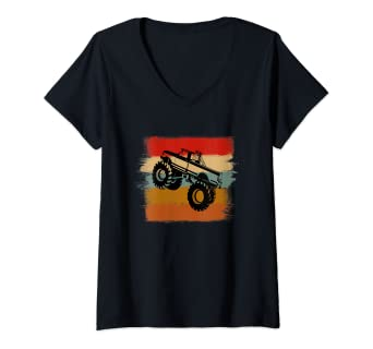 Amazon Com Womens Monster Trucks Vintage Paint Stripes 4wd Suv Rc Big Size Car V Neck T Shirt Clothing