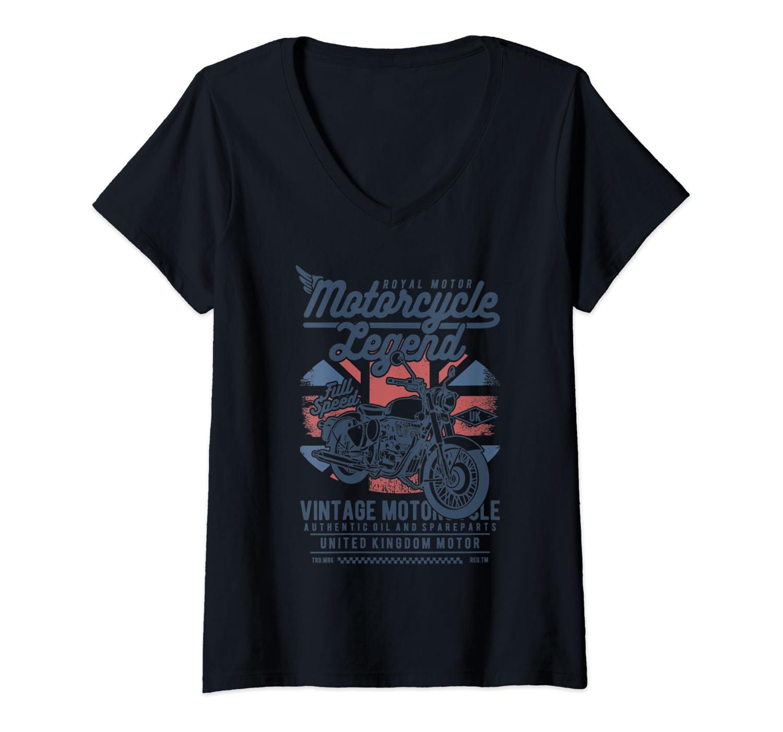 Womens Retro Vintage Motorcycle | I love my Motorcycle V-Neck T-Shirt