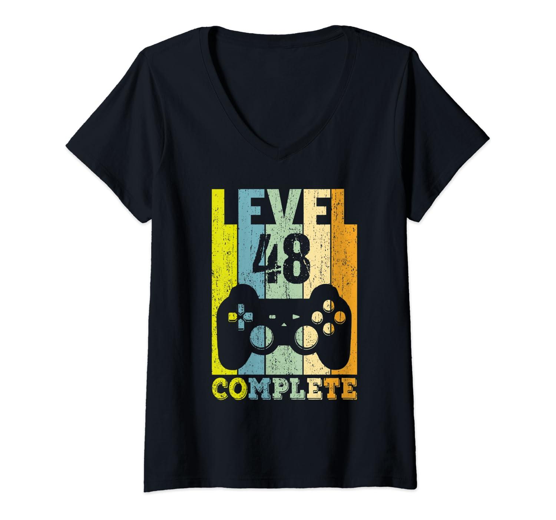 Womens 48 Anni Compleanno Donna Uomo Regalo Divertente Level 48 Maglietta con Collo a V