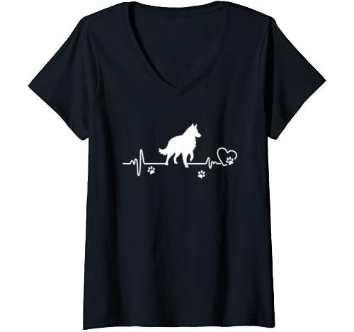 Womens My Belgian Shepherd Always In My Heart   Heartbeat V Neck T Shirt