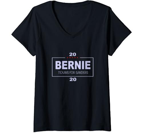 Womens Texans For Bernie Sanders V Neck T Shirt