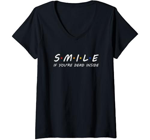 "Womens ""Smile If You're Dead Inside"" Rainbow Vintage Humor V Neck T Shirt"