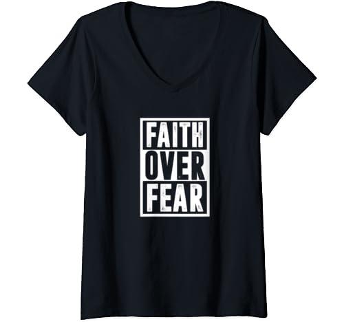 Womens Jesus Peace Hope Love Blessed Christian   Faith Over Fear V Neck T Shirt