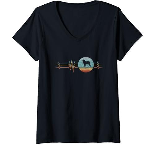 Womens Retro Heartbeat Rottweiler Dog Lifeline Vintage Style V Neck T Shirt