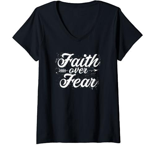 Womens Christian Faith Over Fear Cute Arrow Inspiration Quote Good V Neck T Shirt
