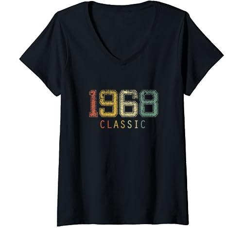 Womens 1968 Classic Rock 50th Birthday Gift T Shirt V Neck T Shirt