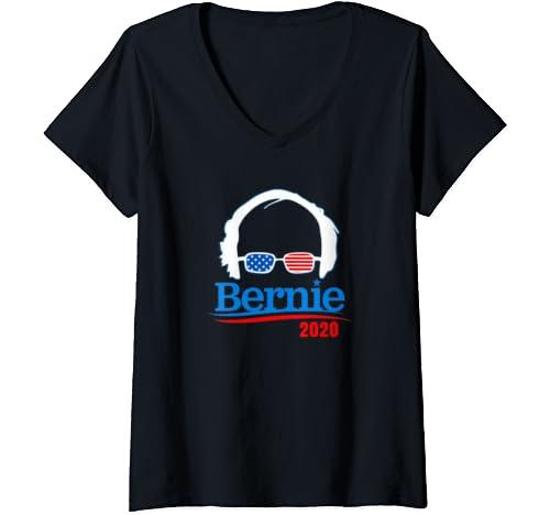 Womens Bernie Sanders 2020 Democratic Election American Flag V Neck T Shirt