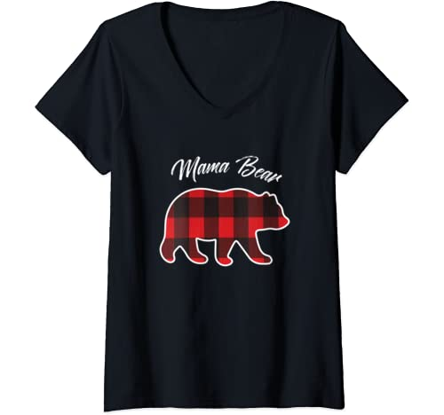 Womens Mama Bear | Matching Family Christmas Red Plaid Pajama Gift V Neck T Shirt