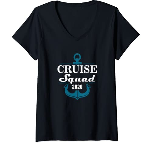 Womens Cruise Squad 2020 Family Reunion Matching Vacation V Neck T Shirt