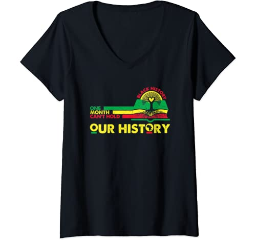 Womens One Month Can't Hold Our History Black Month 2020 Tree Root V Neck T Shirt