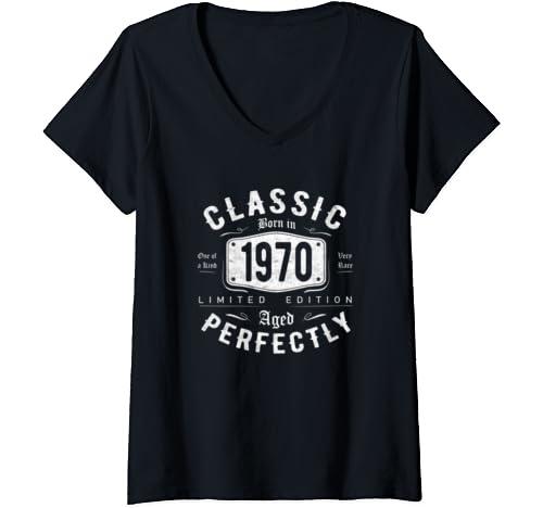 Womens Vintage 1970 Classic 50th Birthday Gift For Men Women V Neck T Shirt