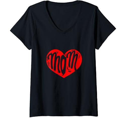 Womens Funny Heart Mom Shirt I Love Mom Mothers Day Gift Women V Neck T Shirt