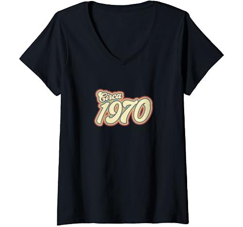 Womens 50th Birthday | Circa 1970 50th Birthday Gift For Men Women V Neck T Shirt