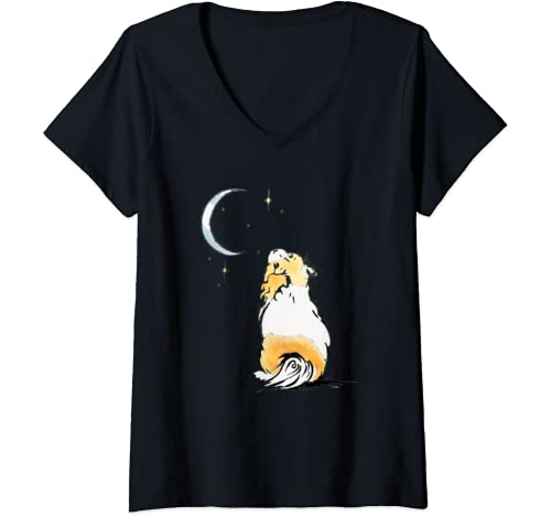 Womens Tibbie Tales Wishes Cute Dogs Women's Clothing V Neck T Shirt