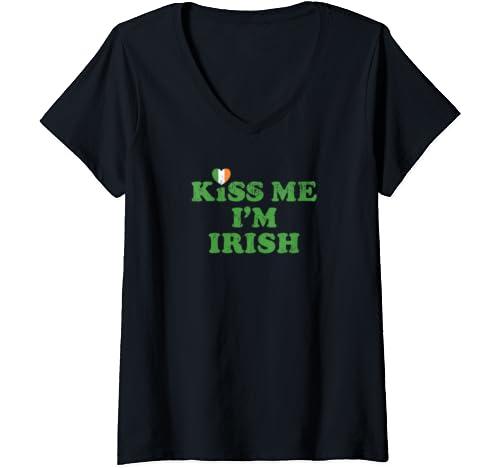 Womens St. Patty's Day Kiss Me I'm Irish Flag Heart Lucky Shamrock V Neck T Shirt