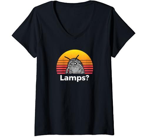 Womens Moth Meme Funny Lamp V Neck T Shirt