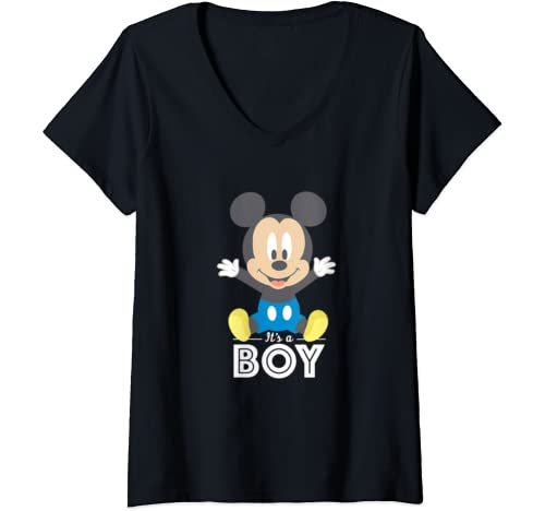 Womens Disney Mickey Mouse It's A Boy Baby Shower V Neck T Shirt