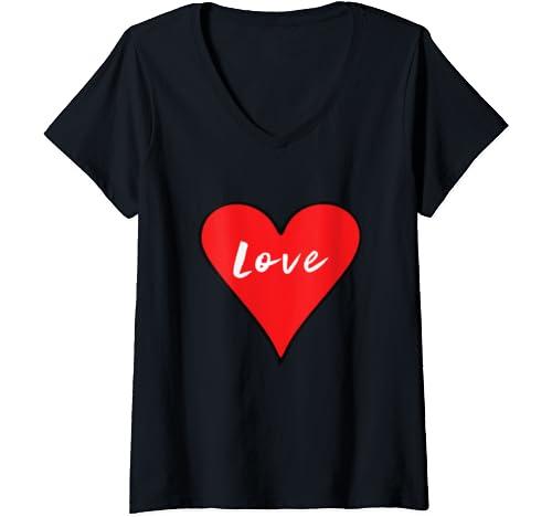 Womens Love Big Heart Red Valentine's Day Gift V Neck T Shirt