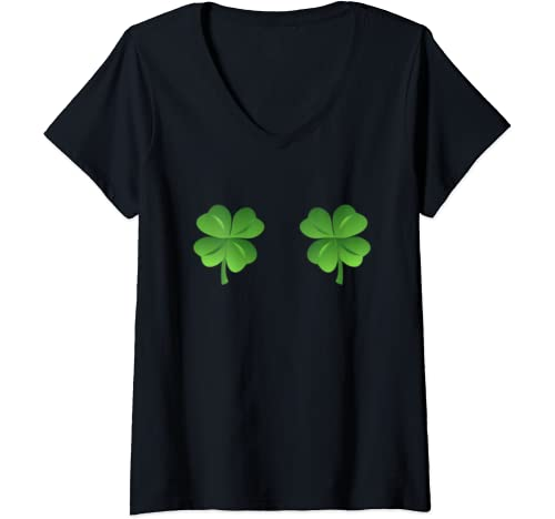 Womens St Patrick's Day Shamrock Boobs Irish Boobs St Patricks Day V Neck T Shirt