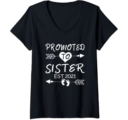 Womens Promoted To Sister Est 2021 Sister To Be Gifts Daughter Girl V Neck T Shirt