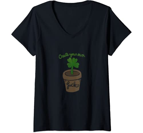 Womens Create Your Own Luck Cute Lucky V Neck T Shirt