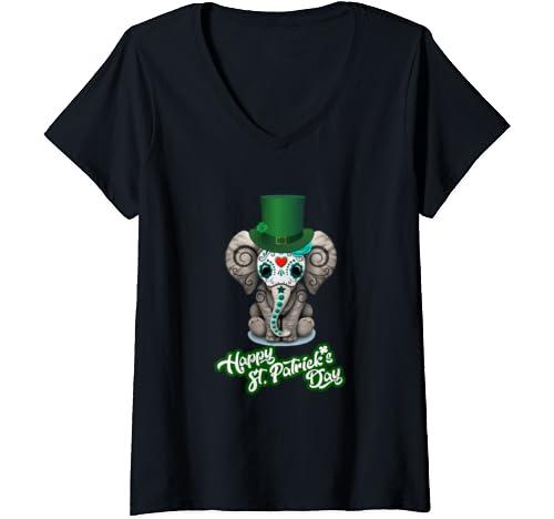 Womens Elephant Leprechaun St. Patricks Day V Neck T Shirt