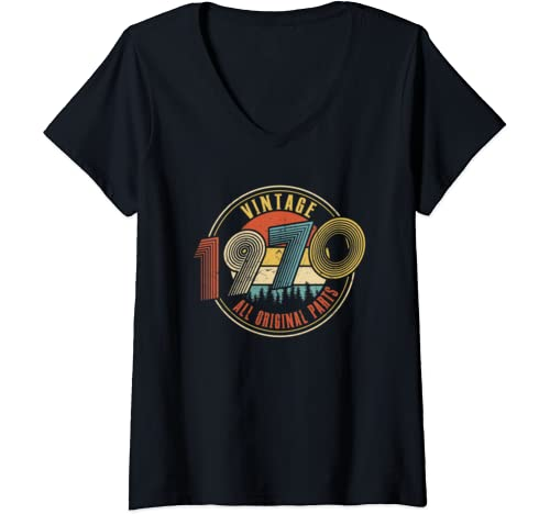 Womens Vintage 1970 Made In 1970 50th Birthday 50 Years Old Gift V Neck T Shirt
