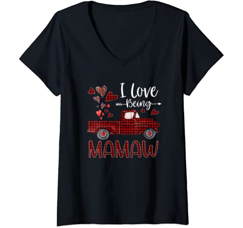 Womens I Love Being Mamaw Red Plaid Truck Hearts Grandma V Neck T Shirt