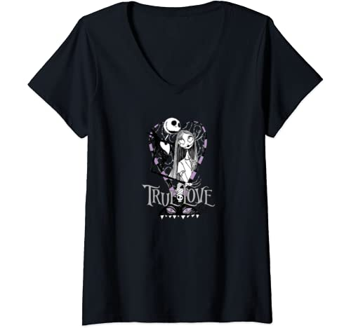 Womens Disney Nightmare Before Christmas Valentines True Love V Neck T Shirt