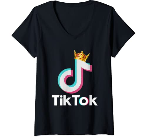 Womens Funny Tok Tik Dance Music Dj Gift Christmas Love Sksksk Tees V Neck T Shirt