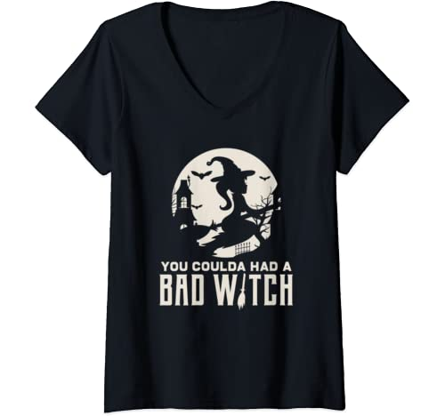 Womens Love Halloween Bad Witch Fun Gift Design Idea V Neck T Shirt