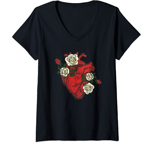 Womens Anatomical Red Heart With Flowers White Roses Show Love Cute V Neck T Shirt